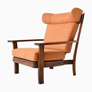 Brazilian Ox Lounge Chair in Rosewood and Leather, Brazil, 1960s