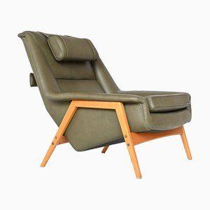 Green Leather Lounge Chair by Folke Ohlsson for Dux, Sweden, 1960s