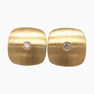 18K Brushed Yellow Gold & White Diamond Square Cufflinks from Berca, Set of 2