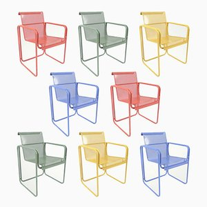 Perforated Metal Dining Armchairs, 1980s, Set of 8