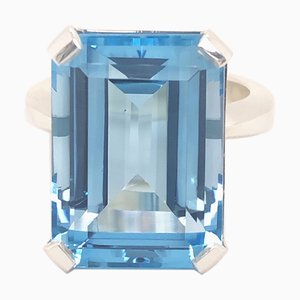 20.2 K Emerald Cut Natural Light Blue Topaz Cocktail Ring from Berca