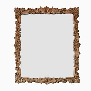 Carved Satin Walnut Overmantel or Wall Mirror, Early 20th Century