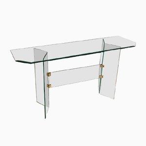 Glas Beistelltisch oder TV Tisch von Leon Rosen, 1980er