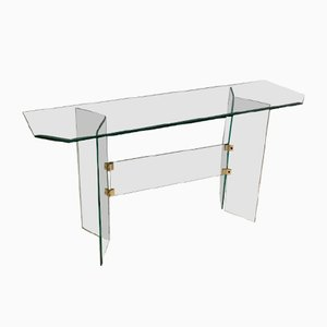 Glass Side Table or TV Table by Leon Rosen, 1980s