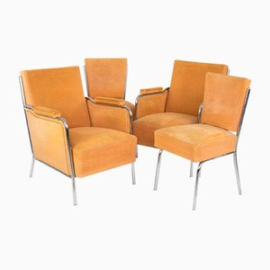 Steel Tube Armchairs and Chairs, Set of 4, 1960s
