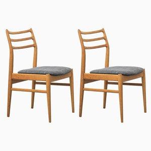 Skandinavische Eichenholz Esszimmerstühle, 2er Set