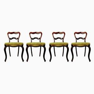 Antike Crown Balloon Back Esszimmerstühle aus Palisander, 4er Set