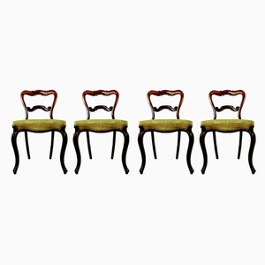Antique Rosewood Crown Balloon Back Dining Chairs, Set of 4