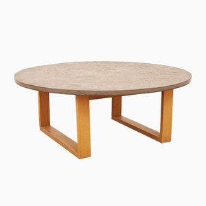 Coffee Table with Solid Beech Frame & Loose Limestone Top, 1960s or 1970s