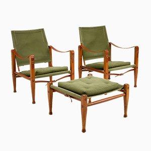 Safari Chair Set in Sage Green Canvas by Kaare Klint for Rud. Rasmussen, Denmark, 1960s, Set of 3