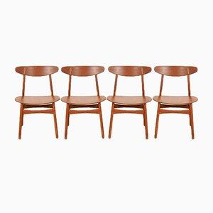 CH-30 Chairs in Solid Teak & Veneered Plywood by Hans J. Wegner for Carl Hansen, 1952, Set of 4