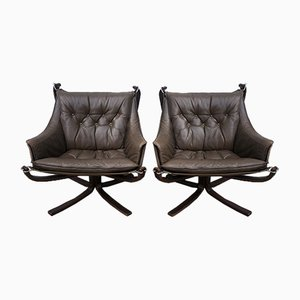 Falcon Lounge Armchairs by Sigurd Resell for Vatne Møbler, 1980s, Set of 2