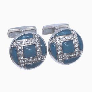 Gemelos de oro blanco, calcedonia azul claro y diamante de 0,40 quilates de Berca