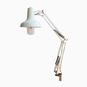 Industrielle Mid-Century Schreibtischlampe mit Gelenkarm aus weißem Metall, 1970er