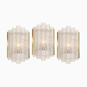 Brass and Ice Glass Wall Sconces from Doria Leuchten, Germany, 1960s, Set of 2