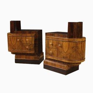 Italian Art Deco Style Bedside Tables, Set of 2