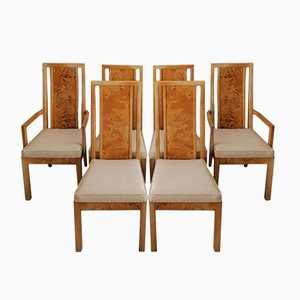 Mid-Century Art Deco Revival Burr Elm Dining Chairs from Thomasville, USA, 1970s, Set of 6