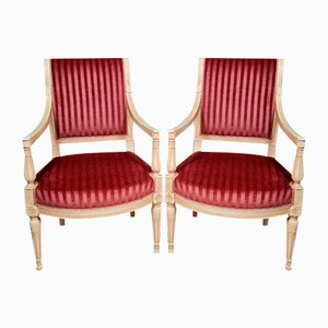 Directoire Style Chairs in Lacquered Wood, Set of 2