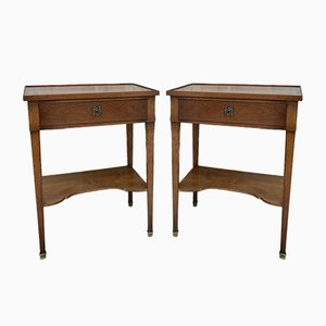 Early 20th Century French Walnut Nightstands or Side Tables, Set of 2