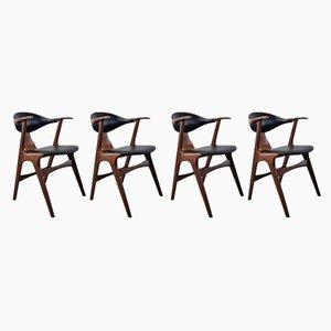 Vintage Cow Horn Stühle von Louis Van Teeffelen für Awa, 1950er, 4er Set