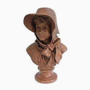 Busto di donna in terracotta di A. Blanc, inizio XX secolo