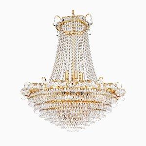 Italienischer Empire Stil Kronleuchter aus vergoldetem Messing, Glas & Kristallglas mit 18 Leuchten, 1970er
