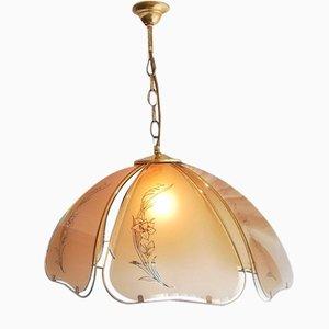 Large Art Nouveau Style Portuguese Gold Glass Pendant Lamp