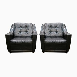 Leather Chairs, 1970s, Set of 2