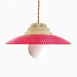 Danish Space Age Red Acrylic Pendant Lamp, 1960s
