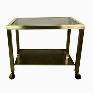 2-Tier Smoked Glass & Brass Serving Trolley, 1970s
