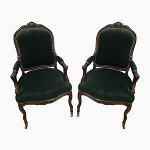 19th Century Louis XV Style Throne Seats in Walnut, Set of 2