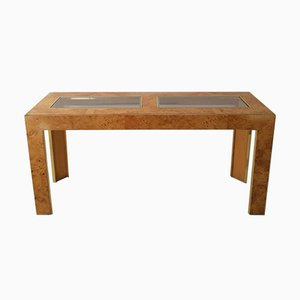 Large Mid-Century Art Deco Revival Burl Wood Veneered Console Table with Inset Glass Panels from Thomasville, USA, 1970s
