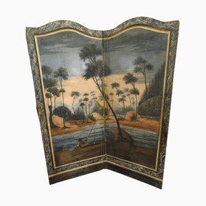 Bifold Polychrome Folding Screen in Stuccoed Wood, France, 18th Century