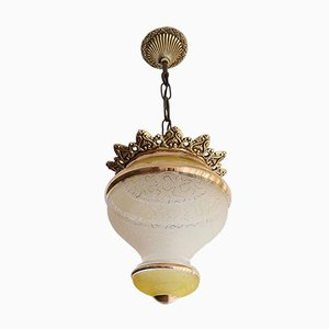 Art Nouveau Style Gold Metal and Frosted Glass Hanging Lamp, 1960s