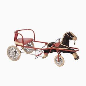 Italienisches Vintage Spielzeug für Mädchen Kutsche mit Pferd