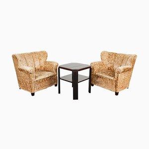 Art Deco Macassar Veneer Fan Lounge Chairs and Coffee Table, Austria, 1930s, Set of 2