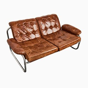 Tubular Steel and Tufted Leather BORKUM 2-Seat Lounge Sofa by Johan Bertil Häggström for IKEA, 1970s