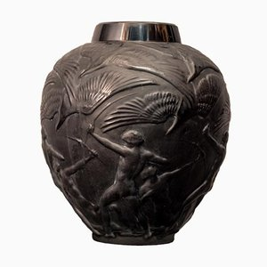 Archers Vase in Black Glass by René Lalique