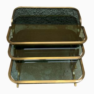 Nesting Tables in Brass and Smoked Glass, Set of 3