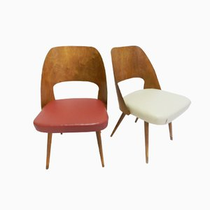 Danish Red & White Side Chairs, 1950s