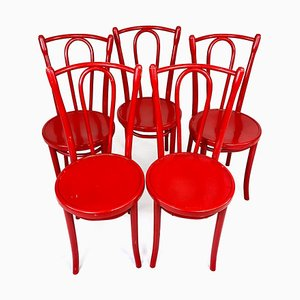 Set of Red Wooden Dining Chairs, 1970s