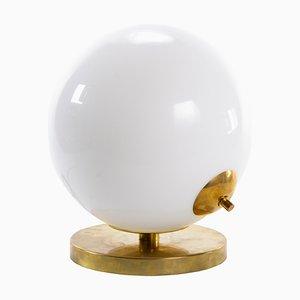 Lampada da tavolo sferica in vetro opalino e ottone