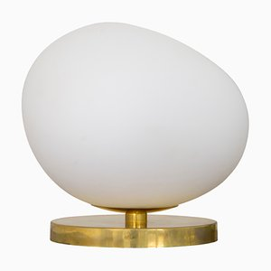 Stone-Shaped Opal Glass Table Lamp with Brass Base