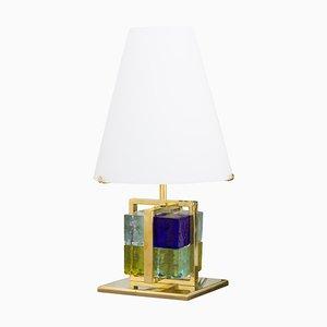 Lámpara de mesa vintage con bloques de cristal de Murano, marco de latón y pantalla de vidrio opalino