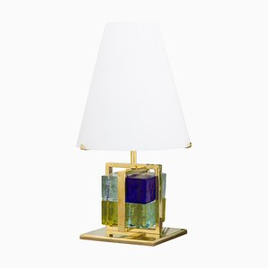 Vintage Table Lamp with Murano Glass Blocks, Brass Frame and Opal Glass Shade