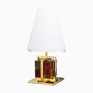 Lampe de Bureau Vintage avec Blocs en Verre de Murano Multicolore, Cadre en Laiton et Abat-Jour en Verre Opalin