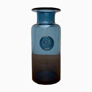 Vase Vintage en Verre Bleu avec Ornement de Sceau