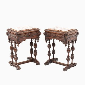 French Carved Oak Side Tables with Marble Tops, Late 19th Century, Set of 2