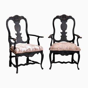 Rococo Style Black Armchairs, 19th Century, Set of 2