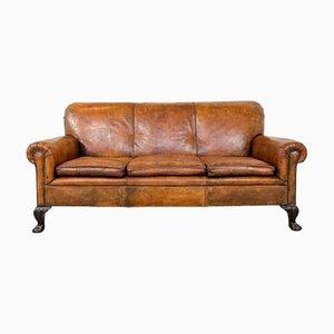 Antikes französisches 3-Sitzer Sofa aus handgefärbtem Schafsleder mit Krallenfüßen
